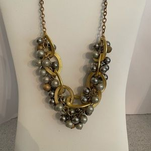 """NY & Co gold tone chain necklace silver beads 20"""""""